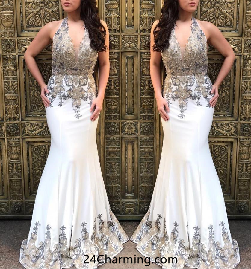 White Halter Neck Applique Prom Dress, Mermaid White Pageant Dress