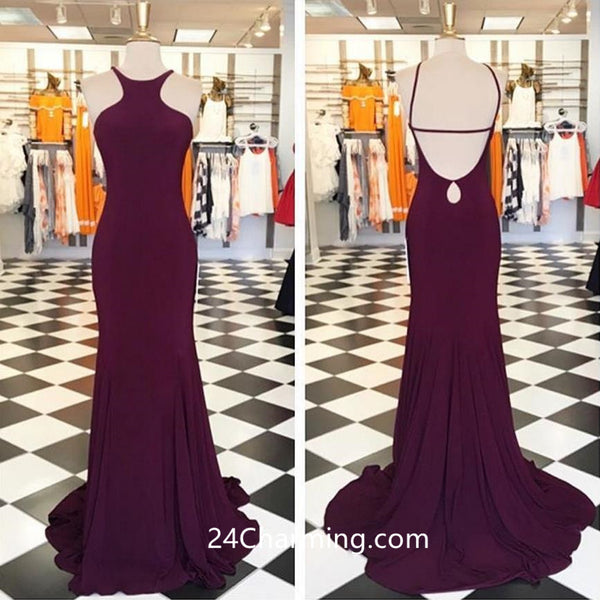 Burgundy Backless Prom Dress, Halter Fitted Pageant Dress