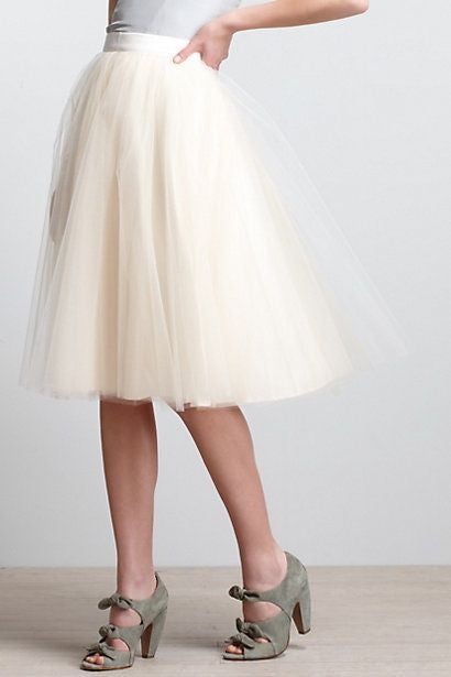 White Tulle Skirt,White Women Skirt,Spring Autumn Skirt,A-Line Skirt