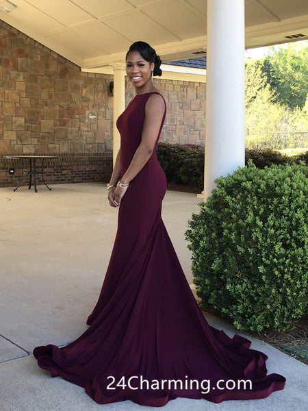 Burgundy Red High Neck Prom Dress, Fitted jersey Pageant Low Back