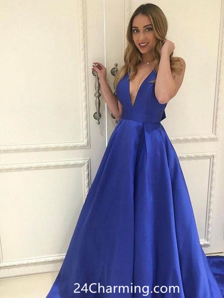 V Neck Mikado Ball Gown Prom Dress Pageant Dress with Bow