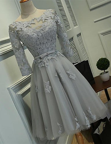 3/4 Sleeve Homecoming Dress, Grey Applique Chiffon Homecoming Dress