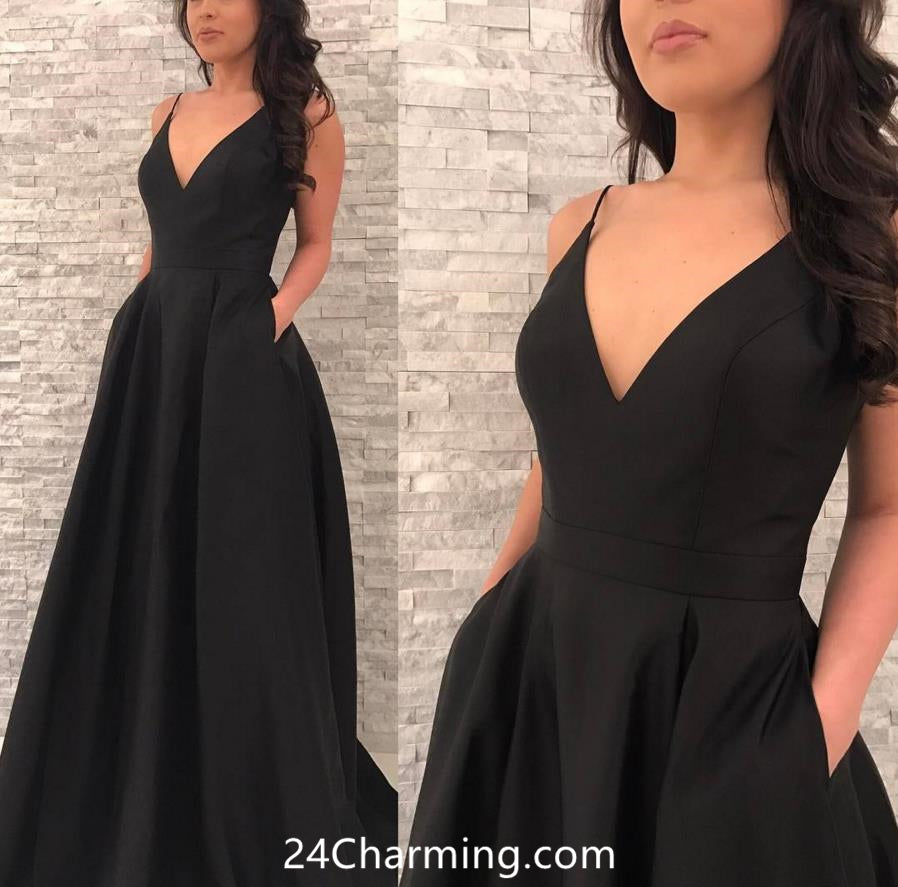 Spaghetti Straps Prom dress with Pockets, V Neckline A Line Pageant Dress