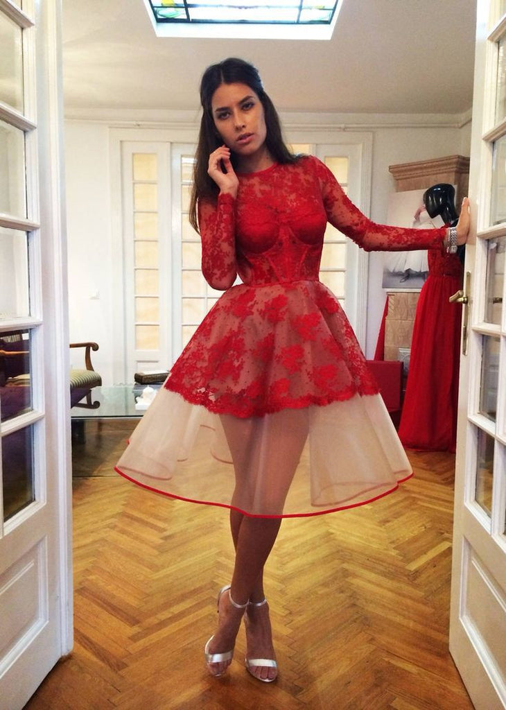 Red Popular Appliques Long-Sleeve Charming Homecoming Dresses