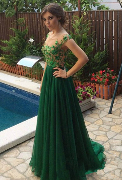 A-Line Prom Dress,Applique Green Evening Dresses,Evening Dress