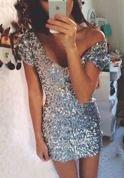 Sexy Short Deep V Neck Homecoming Dress,Sequins Homecoming Dress
