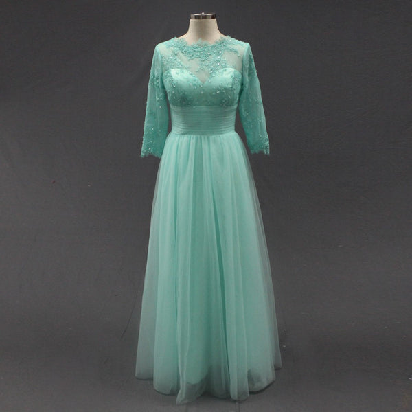3/4 Sleeves Prom Dress,Mint Green Evening Dresses,Evening Dress