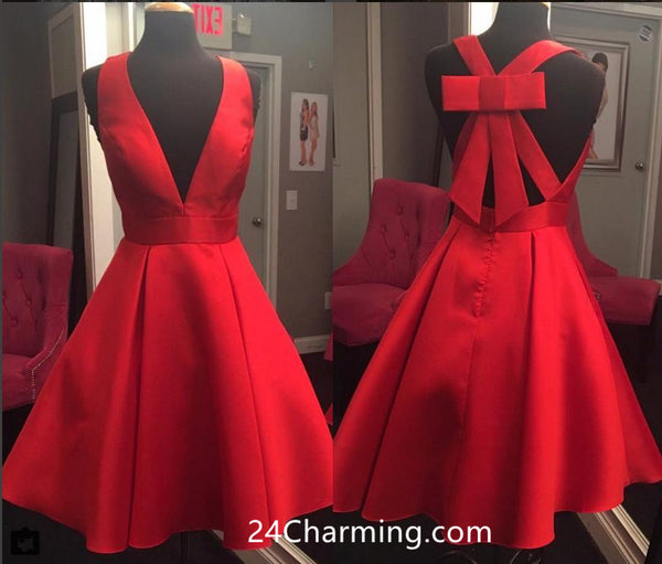 V neck Red Homecoming Dress with Bow Back