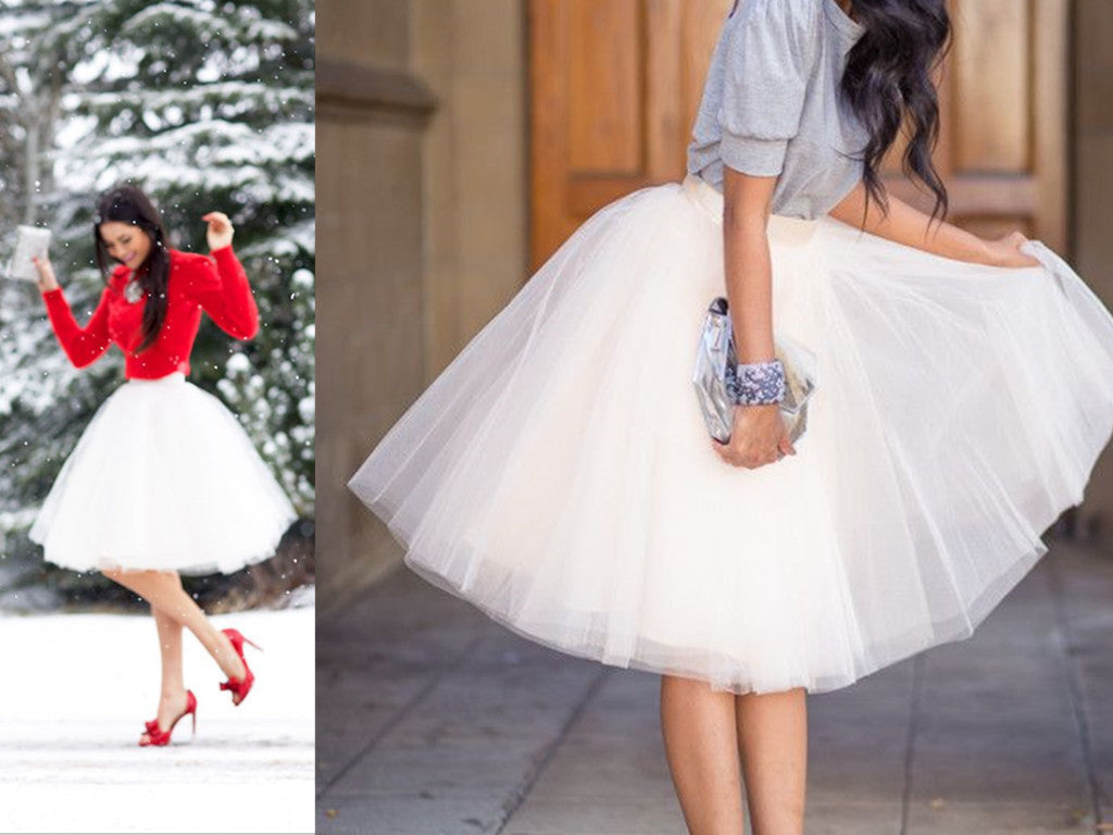 Tulle Skirt,White Women Skirt