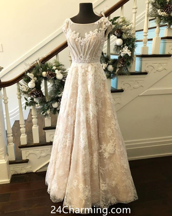 Long Cap Sleeve Lace Pearls Prom Dresses Ivory Pageant Dress