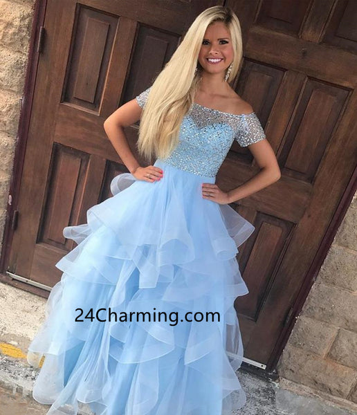 Off Shoulder Beaded Bodice Blue Prom Dressses Multi Layered Tulle Skirt