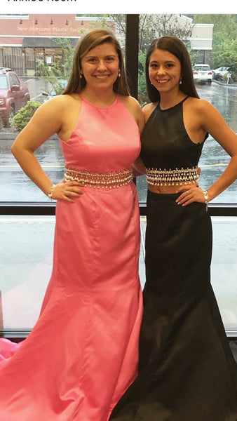 Two Piece Mermaid Halter Prom Dresses Pearls Evening Dresses Pink/Black/Blue/White