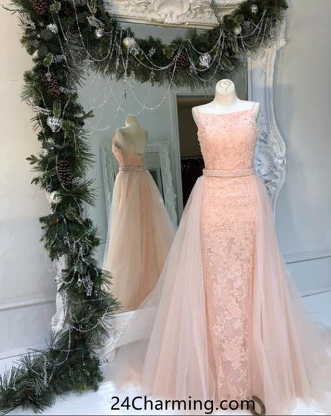 Long Blush Pink Lace Prom Dresses Pageant Dress