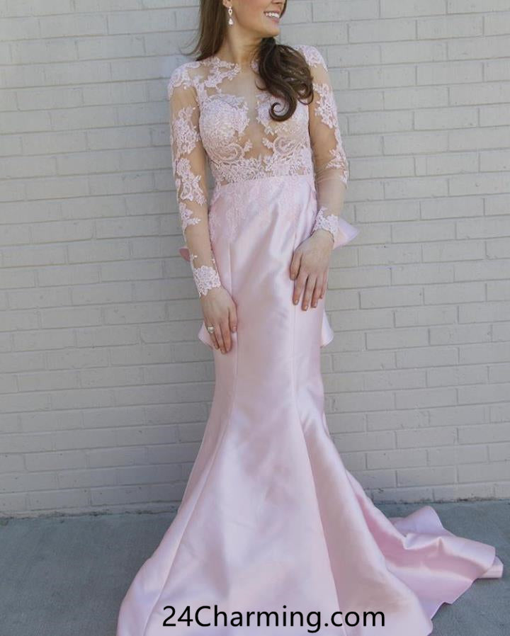 Long Sleeve Mermaid Pink Prom Dresses Pageant Dress