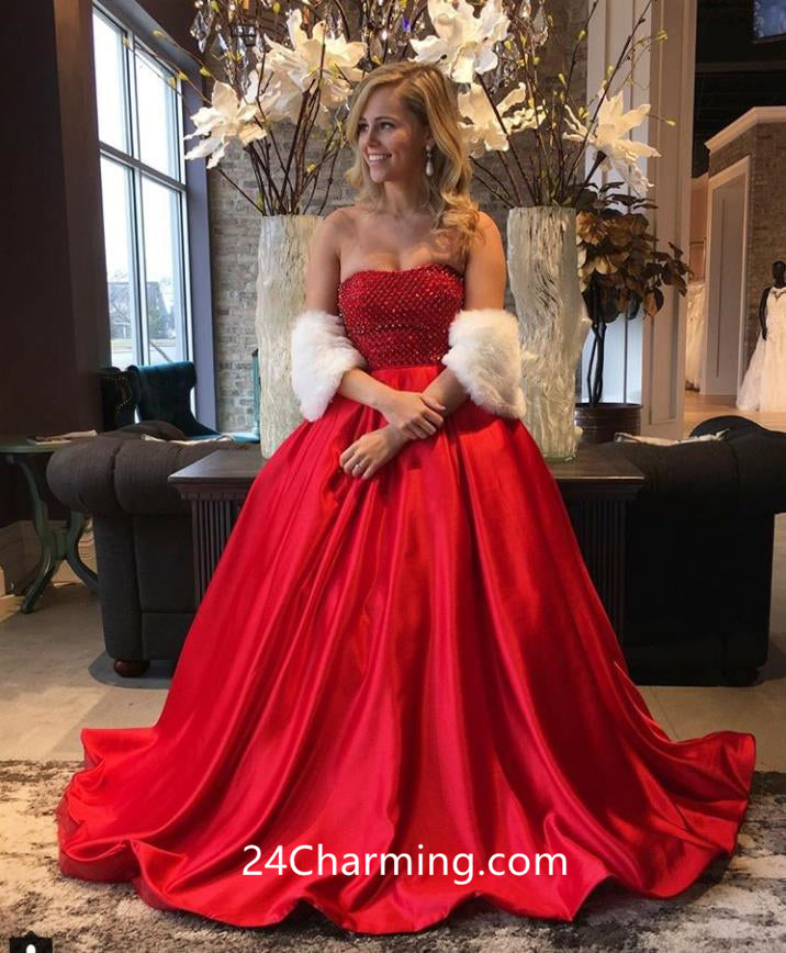 Strapless Red Beaded Prom Dress, Red Pageant Dress