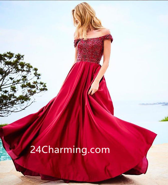 Off Shoulder Satin Beaded Red Prom Dress Evening Ballgown
