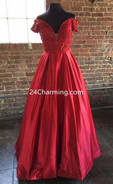 Off Shoulder Cap Sleeve Prom Dresses Plunging Neckline Evening Dresses Red/Pink