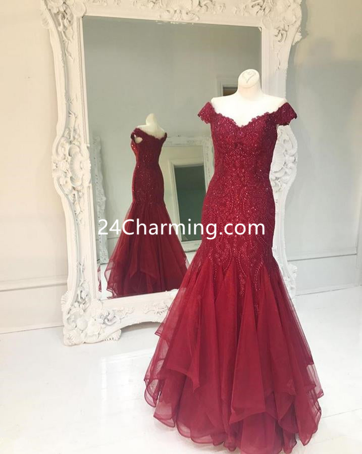 Off Shoulder Trumpet Sparkles Red Mermaid Prom Dresses Evening Dresses