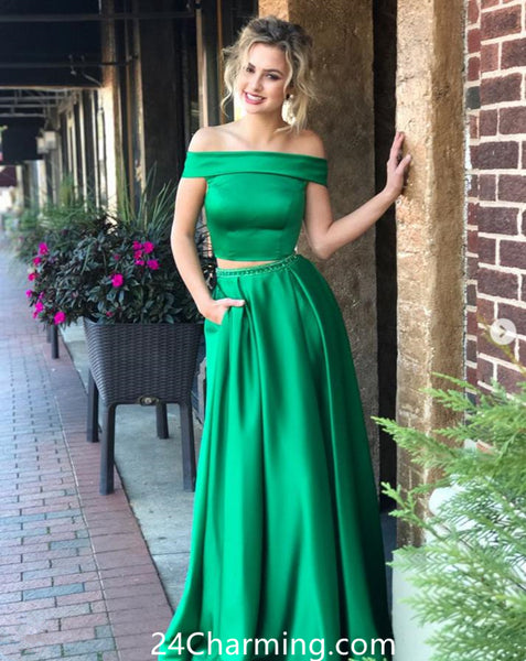 Off Shoulder Grean Two Pieces Prom Dress, Green Pageant Dress