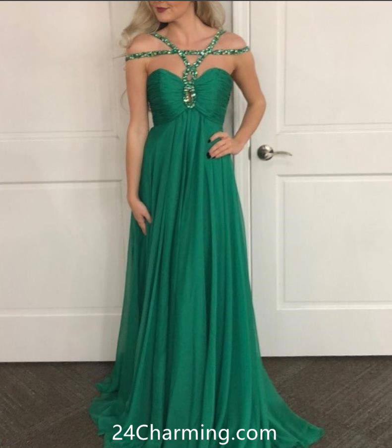 Teal Sweetheart Chiffon Prom Dress, Beaded Pageant Dress