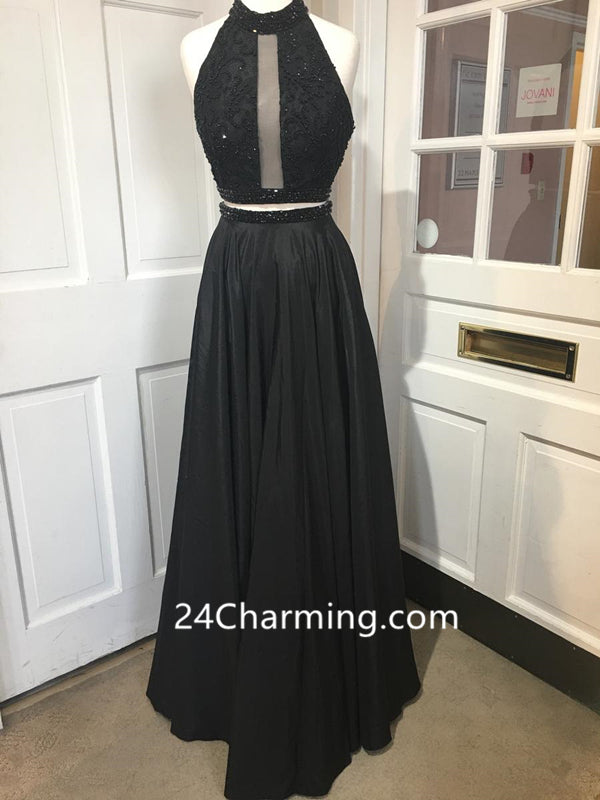 Two Piece Black Halter Prom Dresses Racer Back Evening Dresses With Pockets