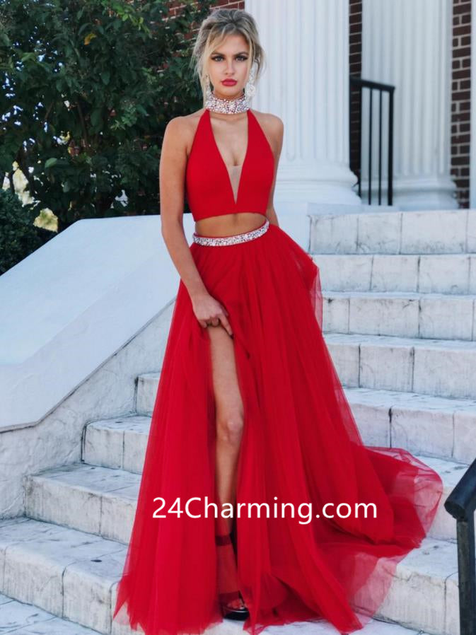 Two Piece Red Halter Prom Dresses Slit Red Evening Dresses
