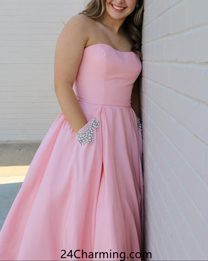 Strapless Blush Pink Prom Dress, Simple Sweetheart Pageant Dress with Pockets