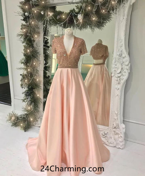 Short Shoulder Blush Pink Beaded Prom Dress, Cutout Pageant Dress