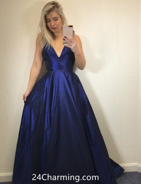 A Line Navy Blue Prom Dress, Navy Blue Pageant Dress