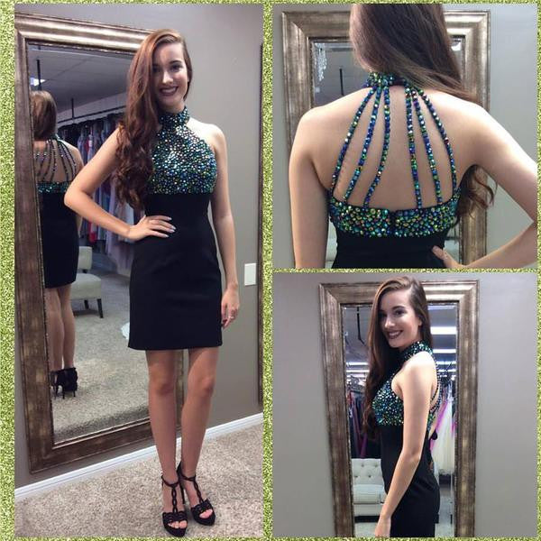 Halter Homecoming Dress, Black Sexy Short Homecoming Dress