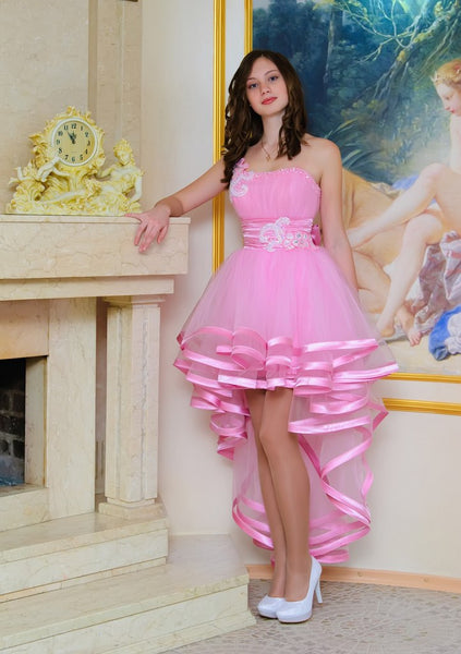 High Low Homecoming Dress, Pink One Shoulder Chiffon Homecoming Dress