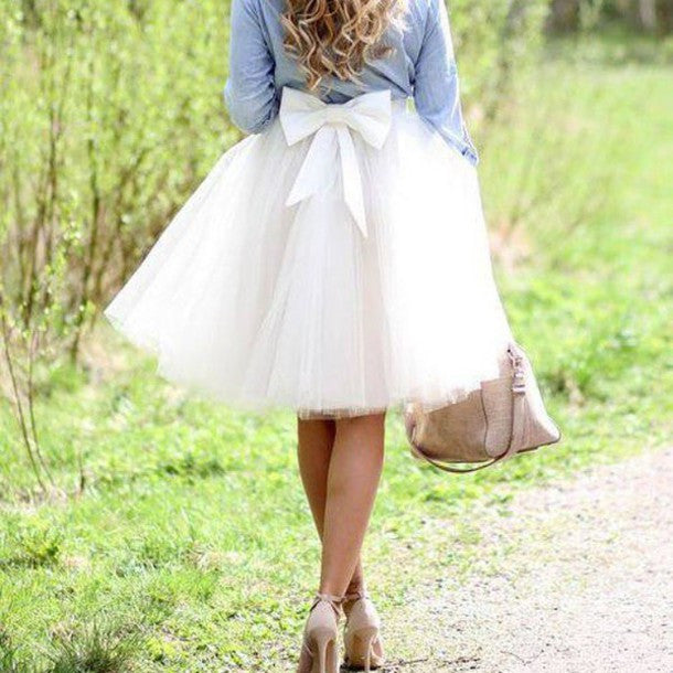 White Tulle Skirt,White Women Skirt,Spring Autumn A-Line Skirt