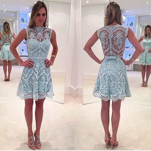 Sleeveless Modern Lace Mini High-Neck Zipper Homecoming Dress
