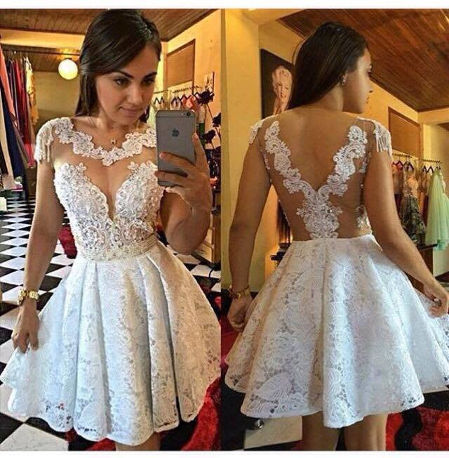 Short Lace Appliques Homecoming Dress Cap A-Line Sleeves Cocktail Dresses