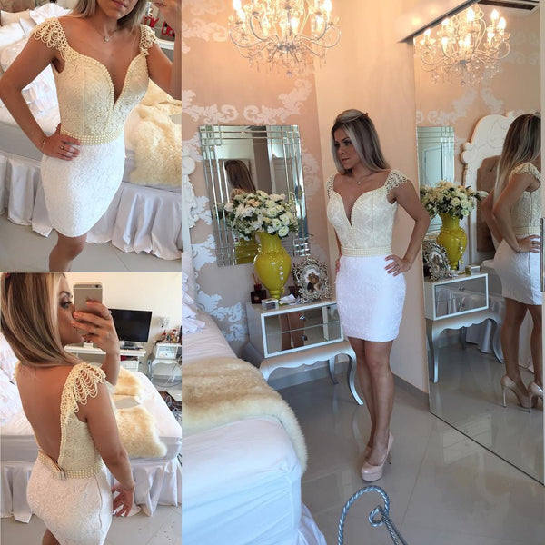 Bodycon Bow Mini Lace Delicate Cap-Sleeve Homecoming Dress