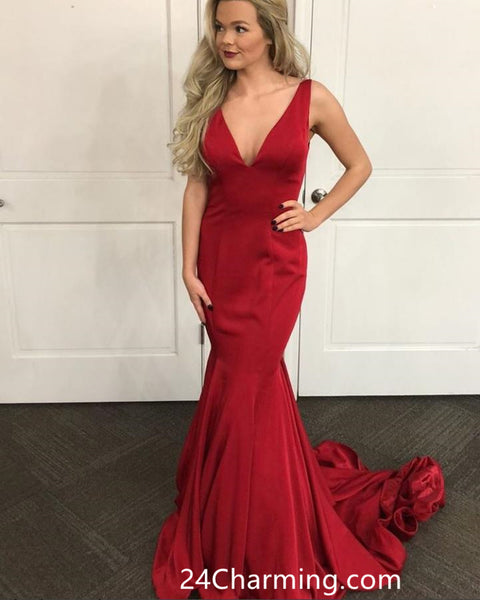 Tank Straps Red Prom Dresses 2018, Mermaid Red Pageant Dress
