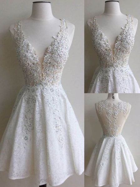 A-Line Mini V-Neck Lace Appliques Homecoming Dress with Beading