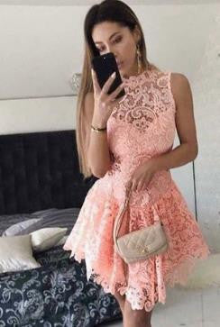 Lace Sexy Homecoming Dress, Pink Strapless Homecoming Dress