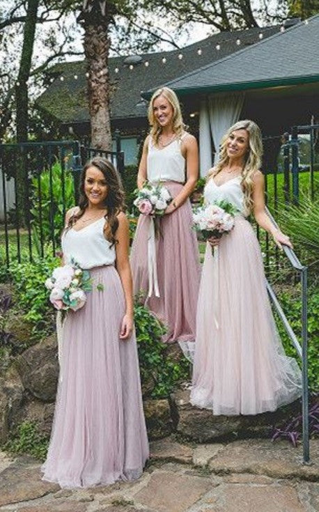 Cheap Bridesmaid Dress, Simple Tulle Bridesmaid Dresses