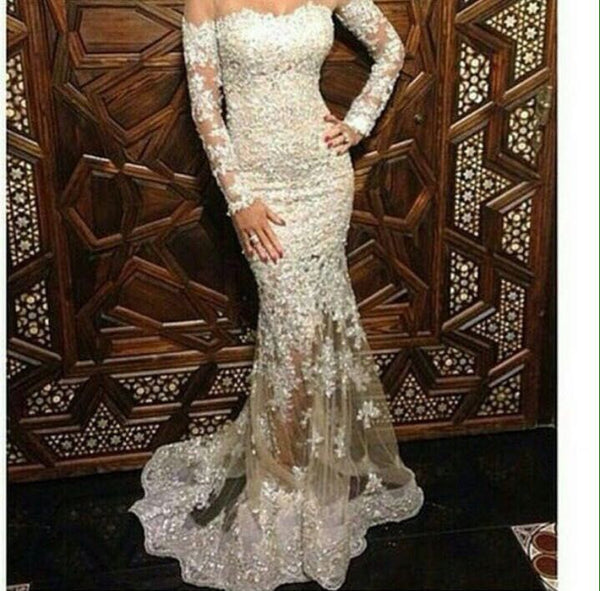 Lace Long Sleeves Prom Dress,White  Long Prom Dresses,Evening Dress