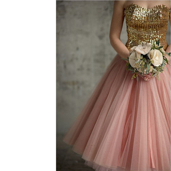Chiffon Sequins Homecoming Dress, Blush Pink Homecoming Dress