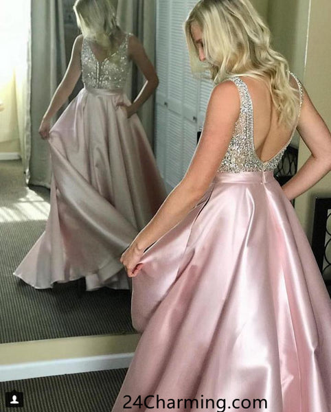 A Line Beaded Prom Dress, Open Back Blue Pageant Dress