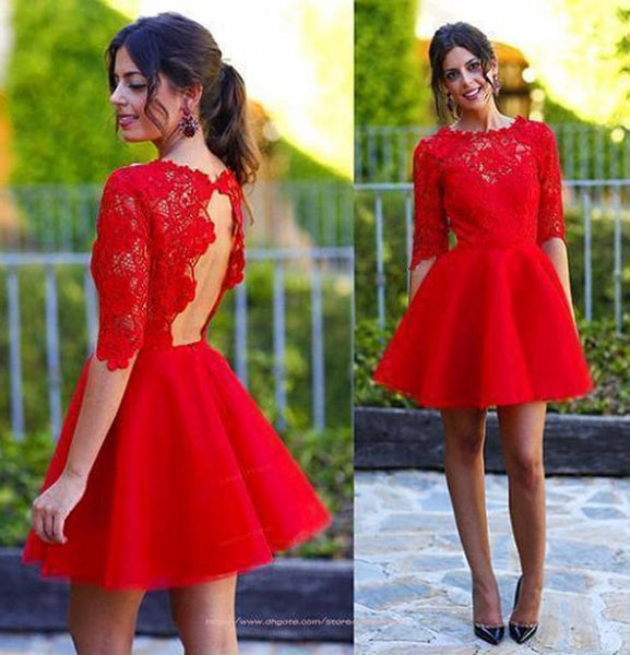 Short Lace Homecoming Dress, Red Open Back Homecoming Dress