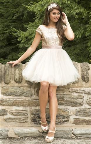 Sequins Golden Homecoming Dress, Short Sleeves Tulle Homecoming Dress