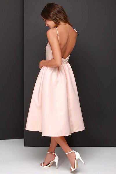 Sexy Simeple Homecoming Dress, Strapless Pink Backless Homecoming Dress