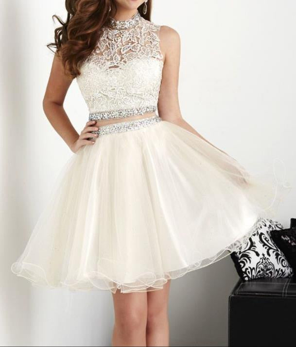 Chiffon Lace Homecoming Dress, White Two Pieces Homecoming Dress