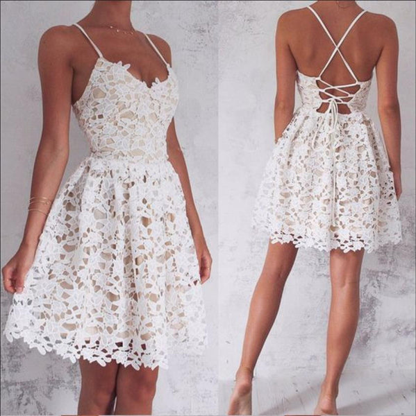 Strapless Homecoming Dress, Lace White Sweetheart Homecoming Dress