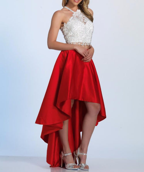 High Low Homecoming Dress, Two Pieces Red Halter Lace Sexy Homecoming Dress