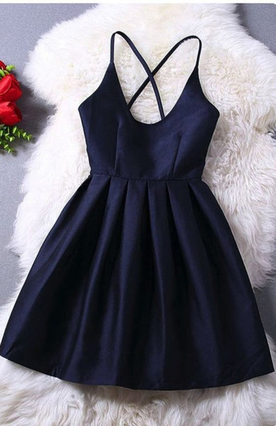 Simple Black Homecoming Dress, Scoop Cross Strap Back Homecoming Dress