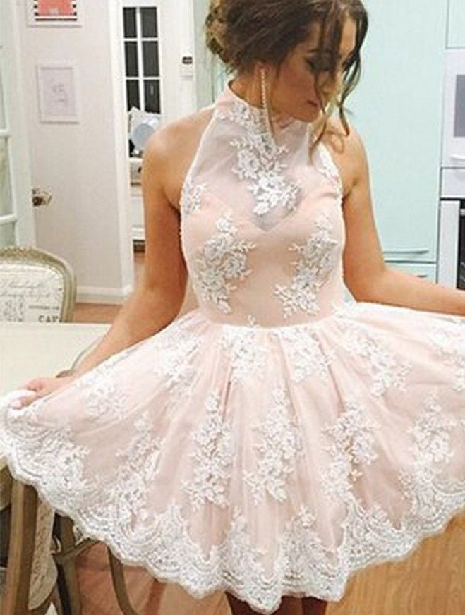 Strapless Homecoming Dress, Appliques Baby Pink Halter Homecoming Dress